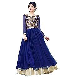 BK ENTERPRISE Women's Blue Net Attractive Gown(bk-105_freesize)