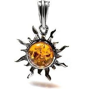 Amber and 925. Silver Small Sun Pendant
