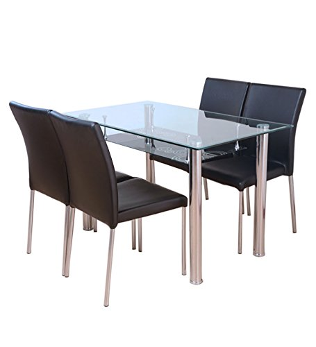 HomeTown Vento Four Seater Dining Table Set (Black)