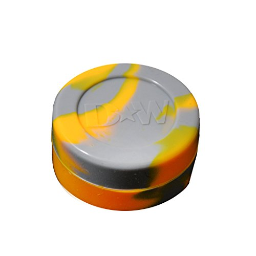 1 Gray With Orange Non-Stick Shatter Concentrate Silicone Jar Container Bho Oil Wax