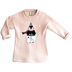 (チチカカ) CHICHIKAKA ペンギンプリントロング丈Tシャツ ピンク 100cm
