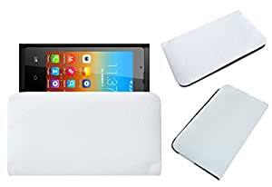 Acm Rich Leather Soft Case For Bq E1 Mobile Handpouch Cover Carry White