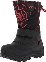 Tundra Boots Kids Boy\'s Quebec Wide (Toddler/Little Kid/Big Kid) Black/Red/Web Boot 2 Little Kid W