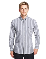Blue Harbour Pure Cotton Bold Striped Slim Fit Shirt