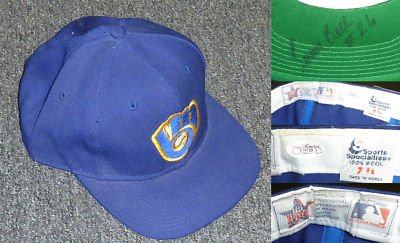 Juan Bell Signed Game Worn 1993 Milwaukee Brewers Baseball Cap Hat JSA COA - Autographed MLB Helmets and Hats