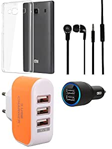 NIROSHA Cover Case Car Charger Headphone Charger Combo for Xiaomi Redmi 2s Combo
