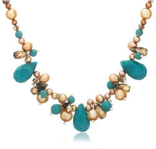 Sterling Silver Turquoise, Smoky-Quartz and Champagne Freshwater Cultured Pearl Necklace, 16+2