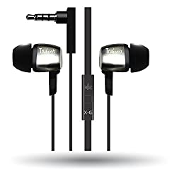 Amkette Trubeats Atom X6 Earphone (Tangle-free Cable With In-Built Mic) with Dura Music Buds (Black)