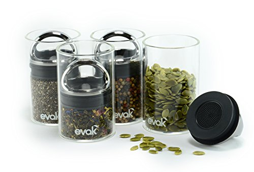 SET OF 4 EVAK MINI- Best PREMIUM Airtight Storage Container for Coffee Beans, Tea and Dry Goods - EVAK - Innovation that Works by Prepara, Glass and Stainless, Compact Handle, Mini (Black Chrome) (Vacuum Stash Jar compare prices)