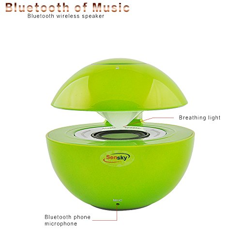 Sensky Bs132 Wireless Bluetooth Speaker, Hands Free Bluetooth Speaker With 360 Degree Sound For Most Of The Smart Phones, Tablets And Computers (Green)