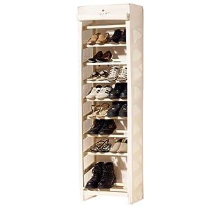 schuhregal schuhschrank f r bis zu 20 paar schuhe mit stoffbezug beige k che haushalt. Black Bedroom Furniture Sets. Home Design Ideas