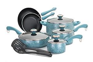 Paula Deen Signature Porcelain 12-Piece Cookware Set, Aqua