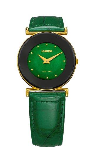 Jowissa Women's J3.031.M Elegance 30 mm Gold PVD Green Leather Watch
