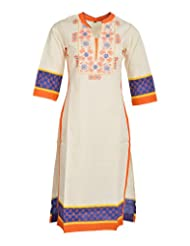 Global Women's Cotton Straight Kurta (GW06OWOrangeS, Off White, S)