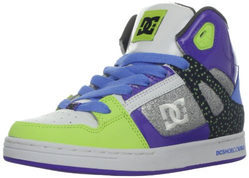 DC Rebound SE Skate Sneaker (Little Kid/Big Kid),Purple/White,5