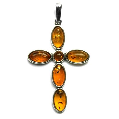 Honey Amber and Sterling Silver Circular Cross Pendant