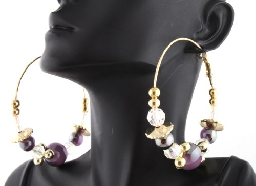Poparazzi Purple 2.5 Inch Hoop Earrings with Glass Beaded Balls