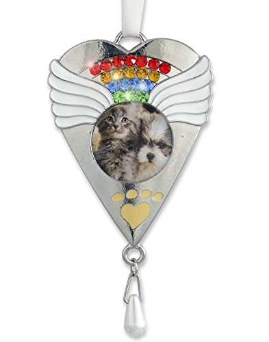 Rainbow Bridge Ornament -- Beautiful Rainbow Crystals and White Angel Wings Surround a Photo of Your Precious Pet -- Gift Boxed with the Rainbow Bridge Poem -- Pet Memorial Gift, Loss of a Pet, Pet Sympathy, Pet (Gifts For Pets)