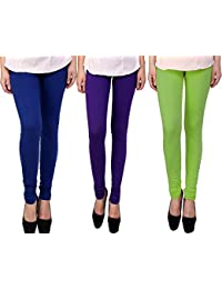 Snoogg Womens Ethnic Chic Inspired Churidar Leggings In Blue, Purple And Light Green