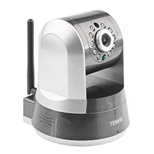 TENVIS IPROBOT3 H.264 720P HD P2P Pan & Tilt Wirelss IP/Network Camera with Two-Way Audio and Night Vision (Silver)