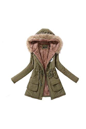 Giacca Casual caldo Parka donna con cappuccio di pelliccia del Faux Navygreen L