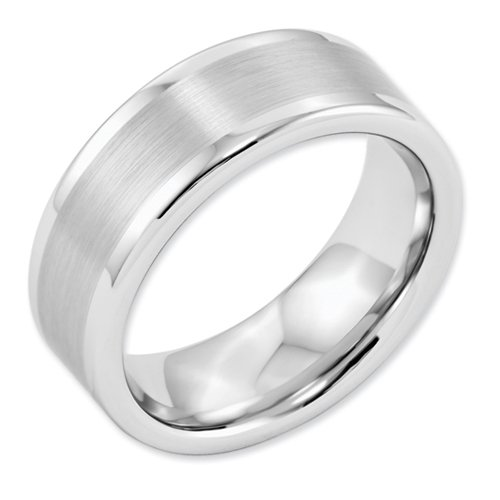 White Dura Tungsten Flat 8mm Brushed And Polished Band, Size 10.5