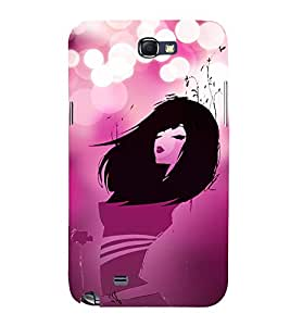 Pink Love Fashion Girl 3D Hard Polycarbonate Designer Back Case Cover for Samsung Galaxy Note i9220 :: Samsung Galaxy Note 1 N7000