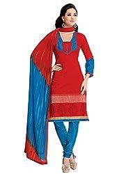 Varanga Red Chanderi cotton dress material with dupatta BLS4011