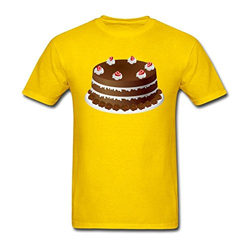 Po tree Men's Cartoon Cake T-shirt Yellow M
