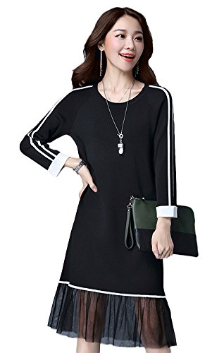 4Chiclife Women's Crew Neck Net Yarn Splicing Long Knitted Sweater Dress Black S