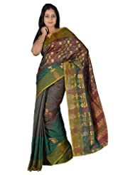 IndusDiva Net Dark Green, Maroon Banarasi Saree with Zari Work