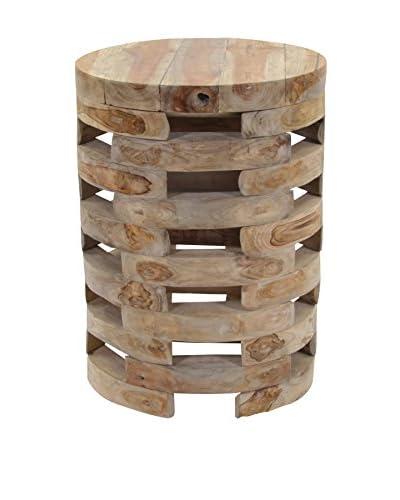 Jeffan Open Slat Wood Side Table, Natural