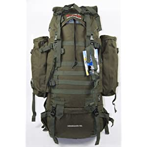 Brand New Military 65L +10L CAMO GREEN RUCKSACK BACKPACK CAMPING HIKING BAG