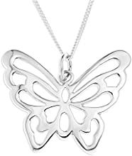 Ornami Sterling Silver Pierced Out Butterfly Pendant on Chain of 46cm