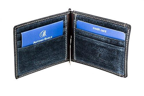 Mini portafoglio uomo ANTONIO BASILE con ferretto e portamonete esterno A3551
