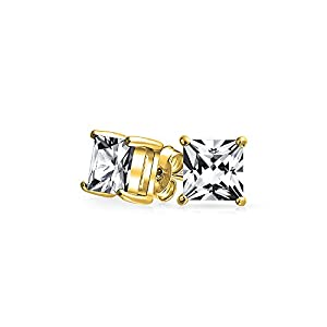 Bling Jewelry Mens Gold Plated 925 Silver CZ Princess Cut Stud Earrings from Bling Jewelry