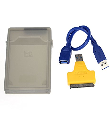 Toopoot Usb 3.0 To Sata Converter Adapter Cable+2.5 Inch Hdd Disk Drive Box Case (Yellow)