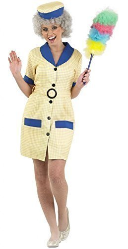 Ladies Sexy Cleaner 1980s Hi Di Hi Fancy Dress Costume Outfit UK 8-26 Plus Size