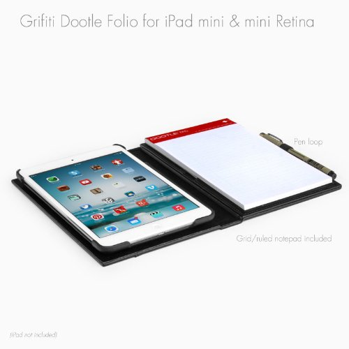 Grifiti Dootle Ipad Mini Folio For Ipad Mini 1,2 Dual Design Form Fitting Back Cover That Is Apple Smart Cover Compatible For Protection, Photos, Videos, And Sharing, Hard Back Book Folio With Pocket And Pen Or Stylus Loop, Dootle Pad 5 X 8 Inch Junior Le