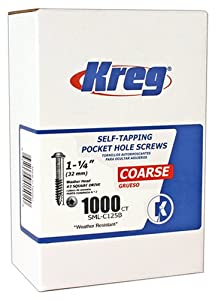 Kreg SML-C125B-1000 Blue-Kote Weather Resistant Pocket Hole Screws - 1 1/4-Inch, #8 Coarse, Washer Head, 1000 count at Sears.com