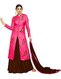 AnK New Arrival Women's Light Pink Cotton Embroidered Semi Stitched Salwar Suit With Two Bottom (Salwar)