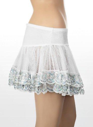 Leg Avenue - Sparkle Pailletten Trimmed Petticoat - One Size - Weiß/Silber - 83331