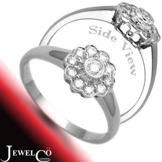 Jewelco London 9 Carat White Gold 31pts 10 x 1 Diamond Cluster Ring