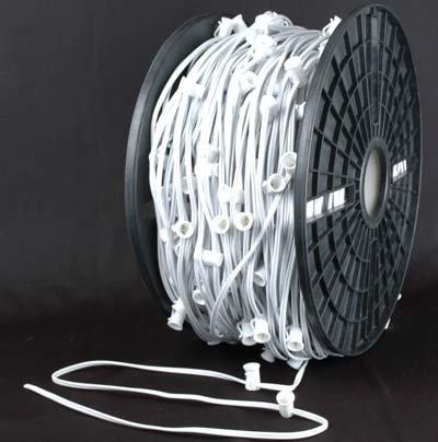 """Novelty Lights, Inc. C7-Mw30 Christmas Stringer Bulk Reel, White Wire, 30"""" Spacing, Spt-1 7 Amp Wiring, 1000' Reel (400 Sockets)"""