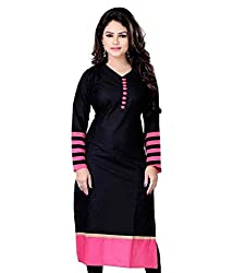 Fashion Forever Women's Black Cotton Unstiched Dress Material