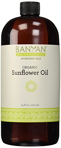 Banyan Botanicals Sunflower Oil, Certified Organic, 34 oz - Pure, Semi-Refined - A Good Massage Oil for Pitta and Kapha