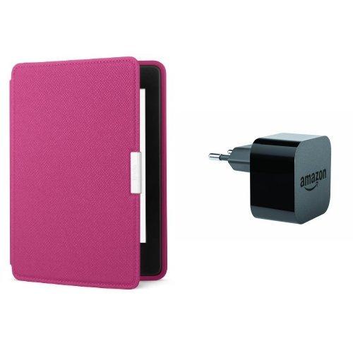 Pack accessoires Kindle: étui Amazon en cuir pour Kindle Paperwhite (Rose fuchsia) + chargeur Amazon PowerFast
