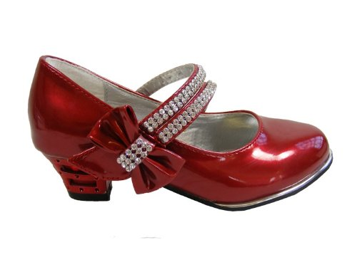 New Girls Kids Shiny Red Metallic Heel Design Diamante Heels Party Shoes Size 13