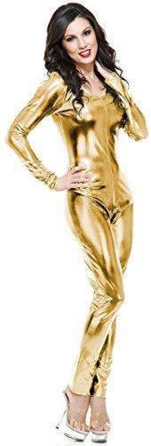 Womens Sexy Liquid Metal Gold Long Sleeve U Neck Unitard Costume XS 3-5