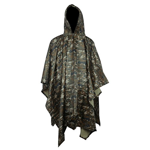Absolutely Perfect Rip-Stop Military Jungle Outdoor Camouflage Raincoat Poncho Color5 (Ladies Police Tie Front Shirt)